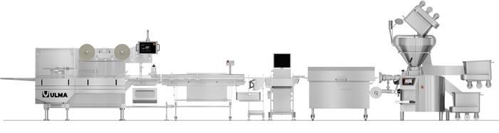 ULMA FM 500 Flow Pack zurządzeniami Handtmann's do mielenia iporcjowania